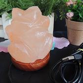 玫瑰花形夜燈 電腦USB電源車載用水晶鹽燈 會議