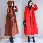2018冬裝新款韓版大碼寬松連帽呢子大衣長款過膝披風chic毛呢外套「爆米花」