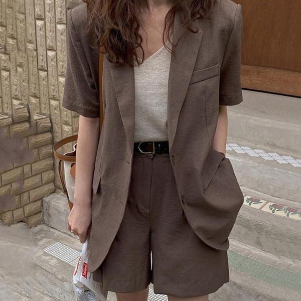 韓國CHIC夏季復古翻領兩粒扣短袖西裝外套 高腰闊腿褲短褲套裝女