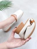平底鞋粗跟春季新款百搭方頭春夏鞋子豆豆鞋