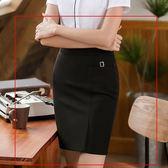 美之札[8S125-PF]中尺碼*低調側邊小金屬釦OL純色包臀窄裙