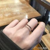 港風chic皓石雙層雙排鑽鈦鋼18K玫瑰金彩金食指網紅戒指女 ciyo黛雅