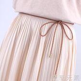 女士時尚簡約百搭學生小皮繩黑白色韓版腰鍊    至簡元素