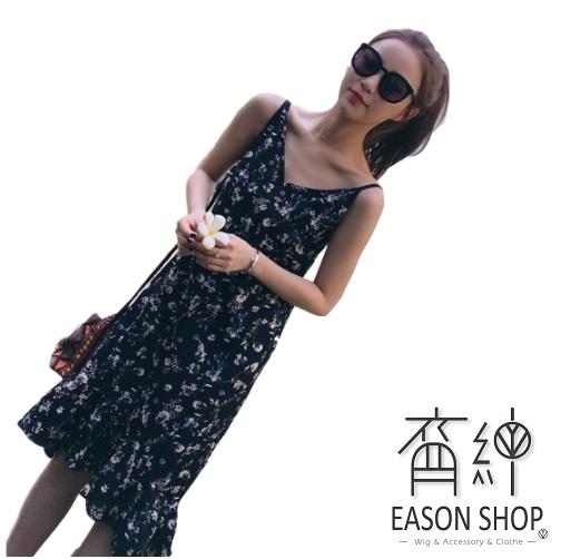 EASON SHOP(GW0466)韓版小碎花下擺魚尾裙V領無袖細肩帶吊帶雪紡連身裙洋裝女上衣服顯瘦長裙過膝裙