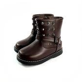 帥氣  鉚釘短靴 小童皮質馬靴 《7+1童鞋》A747 棕色