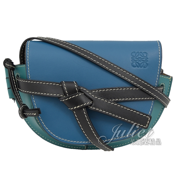 茱麗葉精品 【全新現貨 】LOEWE Gate Mini 綁結小牛皮斜背馬鞍包.藍綠