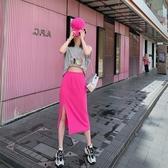 夏季新款針織玫紅色開叉a字半身裙女中長款女高腰鬆緊腰裙子