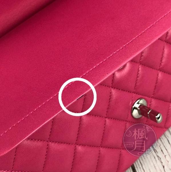 BRAND楓月 CHANEL 香奈兒 19開 經典COCO25 桃紅色 羊皮 菱格紋 銀扣銀鍊 肩背包 斜背包
