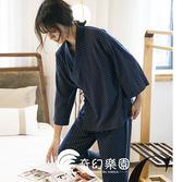 日系睡衣-和服睡衣女寬松大碼純棉長袖波點系帶睡袍全棉家居服套裝-奇幻樂園