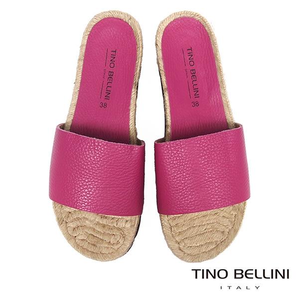 Tino Bellini西班牙進口牛皮寬帶麻編厚底涼拖鞋_ 桃紅 A73031 歐洲進口款