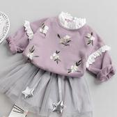 女寶寶上衣碎花嬰兒衣服春季繡花小童T恤