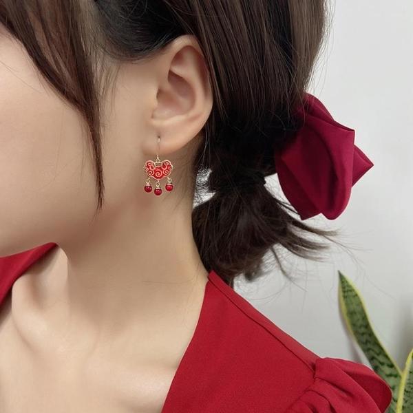新年耳飾 中國風紅色長命鎖耳釘新款潮韓國氣質網紅新娘耳環過年耳飾【快速出貨八折下殺】