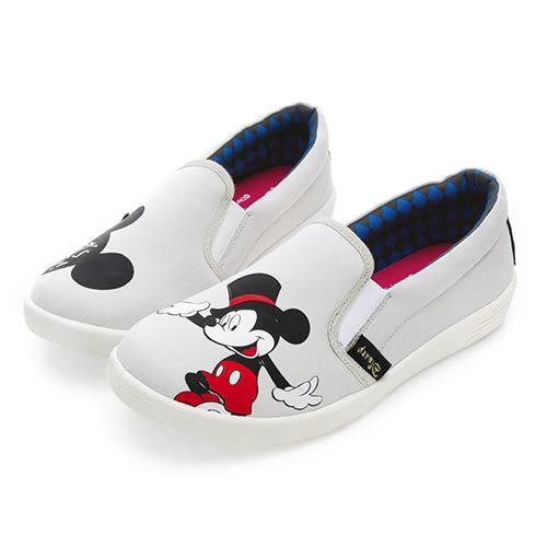 Disney 歡樂派對 米奇不對稱圖案便鞋-灰