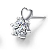 耳環 925純銀鑲鑽銀飾-百搭愛心生日情人節禮物女飾品2色73dy1【時尚巴黎】