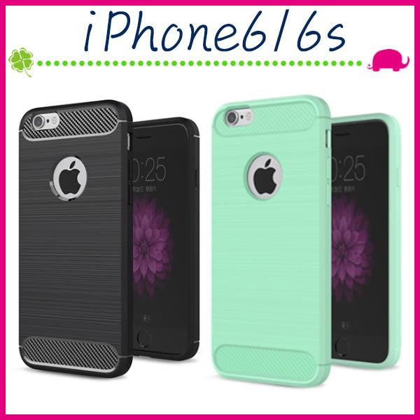 Apple iPhone6/6s 4.7吋 Plus 5.5吋 拉絲紋背蓋 矽膠手機殼 防指紋保護套 全包邊手機套 類碳纖維紋保護殼