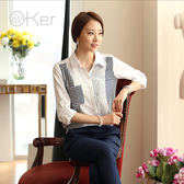 O-Ker 正韓文藝條紋雪紡長袖OL襯衫  VE7601-C