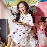 女童睡裙 夏季睡衣短袖薄款潮棉質寶寶可愛中大童公主風家居服 BT5104『寶貝兒童裝』