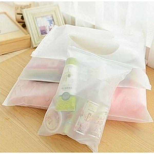 【BlueCat】透明柔紗防水旅行衣服收納袋 (大中)