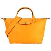 【南紡購物中心】LONGCHAMP Le Pliage Cuir 小羊皮寬背帶短把折疊水餃包(小/橙)