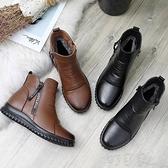 平底靴冬季媽媽棉鞋中短靴保暖加絨平底軟底防滑舒適中老人皮鞋女鞋 町目家