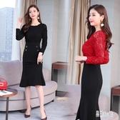 2020早春季新款假兩件連身裙過膝長袖魚尾裙晚禮小黑裙洋裝女 YN4038『易購3c館』