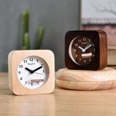 木質創意個性靜音女學生用床頭小鬧鐘錶實用擺件簡約兒童臥室夜光