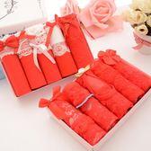 女士內褲本命年大紅色內褲性感棉質蕾絲三角褲5條禮盒裝 GY346『寶貝兒童裝』
