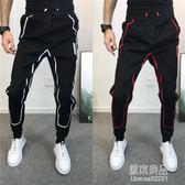 男修身小腳褲印花條格韓版束腳鉛筆褲時尚百搭網紅褲  原本良品