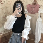 設計感露肩長袖針織衫女2020秋季新款韓版溫柔風撞色氣質外穿上衣 果果輕時尚