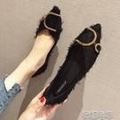 一腳蹬皮鞋春季新款韓版時尚水鉆百搭尖頭單鞋女平底淺口瓢鞋船鞋女鞋 快速出貨