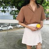 寬鬆翻領純色修身單排扣短袖襯衫女上衣 千千女鞋