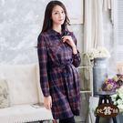 【岱妮蠶絲】現代必備格子兩穿式開襟洋裝...