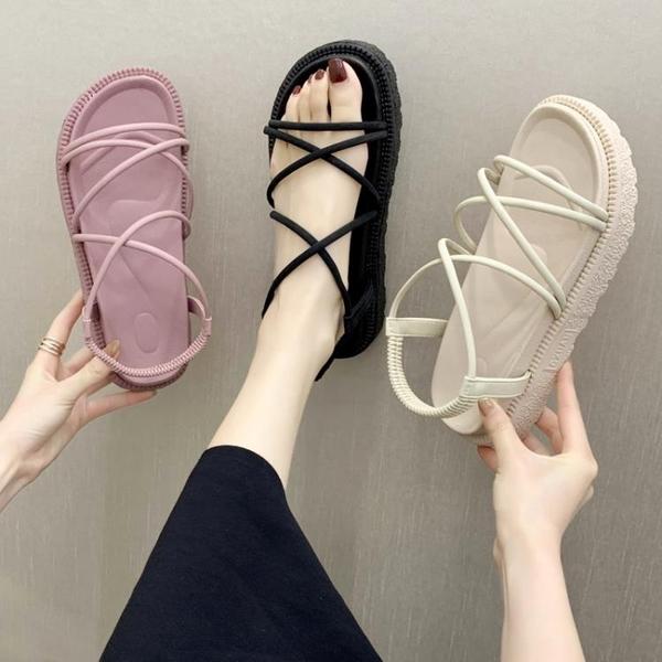 沙灘涼鞋 厚底涼鞋女網紅爆款2020新款百搭夏季韓版仙女沙灘平底女鞋可下水 小宅女