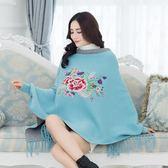 新款中國結民族風斗篷針織衫牡丹刺繡流蘇蝙蝠衫大尺碼毛衣洋裝 店慶降價