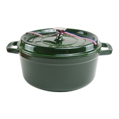 【Staub】24cm鑄鐵 圓形鑄鐵鍋4QT/3.8L-羅勒綠_含動物造型鍋蓋頭_比漾廣場