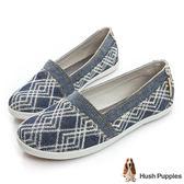 Hush Puppies 幾何單寧咖啡紗TiTi懶人鞋-深藍