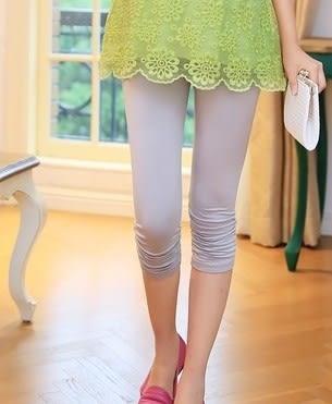 *魔法之城*CC11170新款孕婦時尚打底七分褲 褶皺邊孕婦薄打底褲