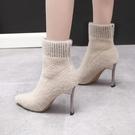 靴子女中筒毛毛靴2021新款冬季襪子靴女細跟加絨瘦瘦靴高跟短靴女 貝芙莉