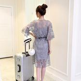 兩件式洋裝 夏季2020新款韓版大碼喇叭袖鏤空蕾絲連身裙中長款吊帶裙兩件套裝 小宅女