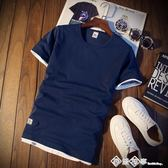 男士短袖T恤夏季韓版青年修身半袖圓領體恤純色打底衫上衣服潮裝  西城故事