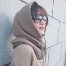 羊絨毛線帽子圍脖一體女秋冬季加厚針織韓版護耳脖套保暖連帽圍巾 黛尼時尚精品