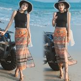民族風長裙 波西米亞沙灘裙民族風復古半長裙一片式高腰開叉泰國花半身裙子