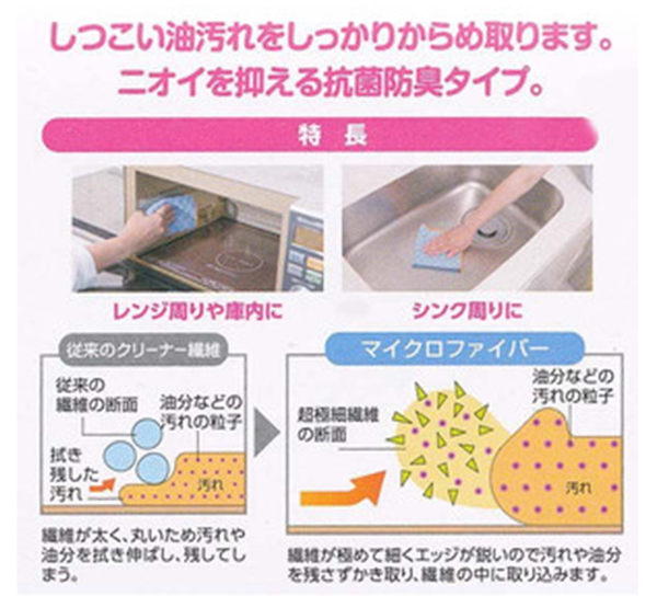 日本山崎小海豹 抗菌防臭 頑強污垢專用抹布.廚房水槽流理台專用抹布.雙面顆粒抹布