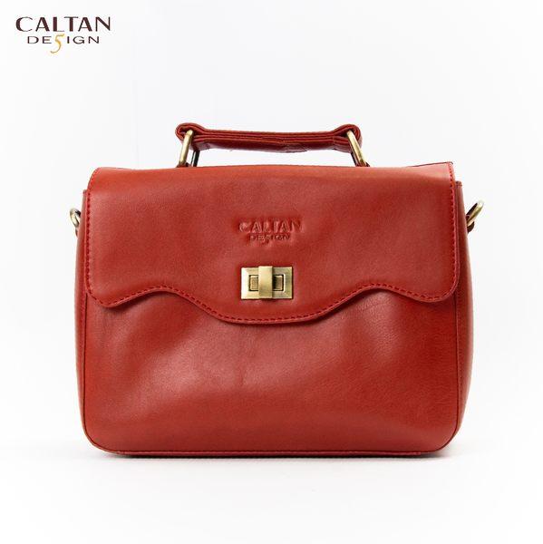 牛皮/斜背包/小包【CALTAN】甜美風輕巧波浪開口兩用斜背/手提包-5223cd-紅