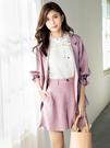 單一優惠價[H2O]簡約顯瘦仿麻棉感雙色織紋短褲 - 灰/粉色 #0678001