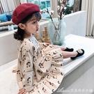 洋裝秋裝新款兒童甜美舒適櫻桃圖案公主裙女童可愛小清新連身裙516 快速出貨