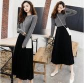 時尚針織中大尺碼M-4XL/9050#新款高冷氣質女裝百褶針織拼接假二件連身裙N116依品國際