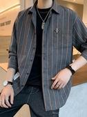 襯衫-2020春秋季新款男士韓版潮流長袖襯衫條紋襯衣格子帥氣外套上衣服 Korea時尚記