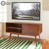 E-home Barbara芭芭拉二空單滑門實木收納電視櫃-兩色可選原木色