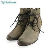 【Bo Derek 】百搭繫帶高跟短靴-灰